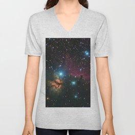 Flame and Horsehead Nebulae Unisex V-Neck
