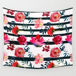 Black white pink floral watercolor stripes pattern Wall Tapestry