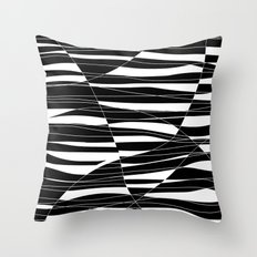 Carved Black and White Wave Throw Pillow