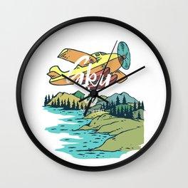 Road Trip Outdoor Adventure Propeller Sky T-Shirt - Design Illustration Print Artwork Gift Idea Tee Wall Clock