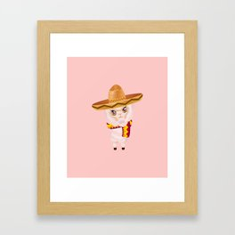 Cute Alpaca in Sombrero Framed Art Print