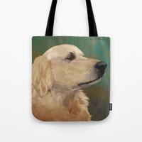 labrador Tote Bags featuring Golden labrador by Carl Conway