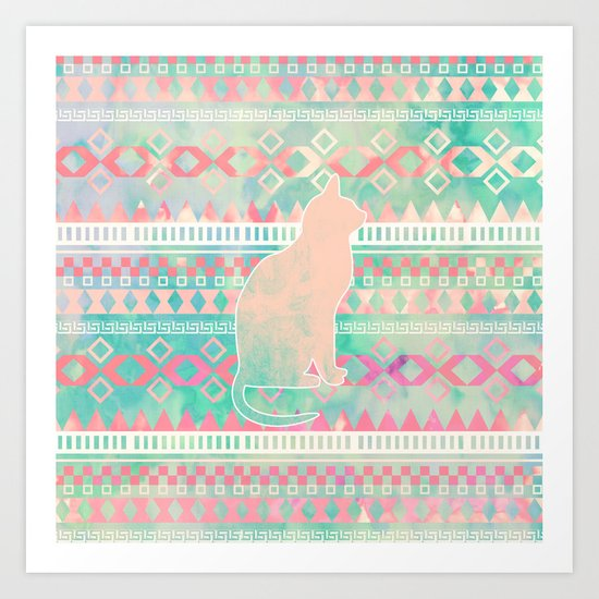 Whimsical Cat, Pink Turquoise Girly Aztec Pattern Art Print