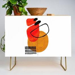 Mid Century Modern Abstract Vintage Pop Art Space Age Pattern Orange Yellow Black Orbit Accent Credenza