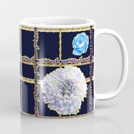 Beautiful Gold and Blue Floral Feminist Killjoy Tartan Coffee Mug