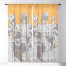 Vintage Ladies APRICOT / Vintage illustration redrawn and repurposed Sheer Curtain