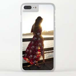 Red Flower Dress Clear iPhone Case