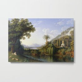 Caserta, Italy Campania Formal Gardens and Waterfall landscape painting by Jacob Philipp Hackert  Metal Print
