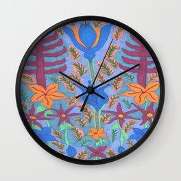 Lush Blue Bohemian Floral Garden Wall Clock