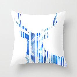 Geometric blue Stag Throw Pillow