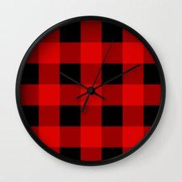 Red black lumberjack plaid pattern Wall Clock