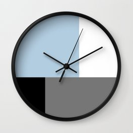 Abstract light blue white gray and black forms Wall Clock