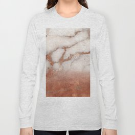 Shiny Copper Metal Foil Gold Ombre Bohemian Marble Long Sleeve T-shirt