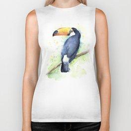 Toucan Tropical Bird Watercolor Biker Tank
