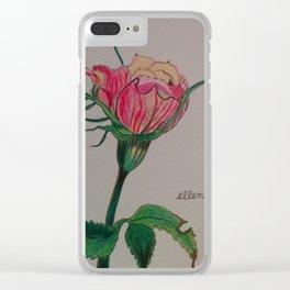 rose, botanical, botanical art, pink, pink rose, Yokohama Clear iPhone Case