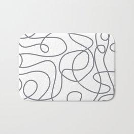 Doodle Line Art | Gray Lines on White Bath Mat
