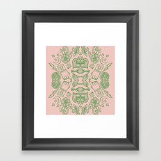 Modern Icons - Tattoo - Day of the Dead - Pink and Green Framed Art Print