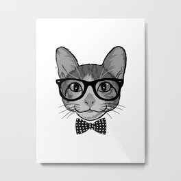 Cat Hipster With Polka Dots Bow Tie - Black White Metal Print