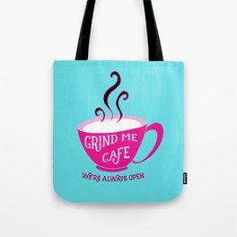 Grind Me Cafe - Blue Tote Bag
