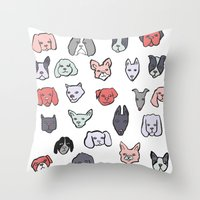 puppies Throw Pillows featuring Pastel Puppies by Elisa MacDougall