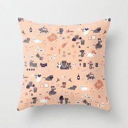 Bad cats Throw Pillow