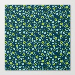 Apple green & Dark blue flowers Canvas Print
