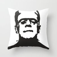 frankenstein Throw Pillows featuring Frankenstein by b & c