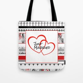 just Married Hearts white pattern II Tote Bag
