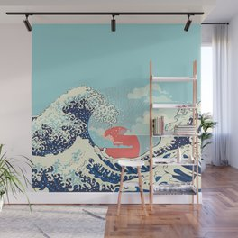 The Great Wave off Kanagawa stormy ocean with big waves Wall Mural