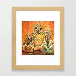 Spunky Pumpkin Fairies Framed Art Print