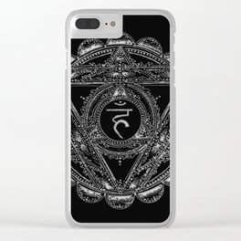 Black and White Throat Chakra Clear iPhone Case