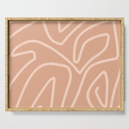 Modern abstract art in peachy brown Serving Tray