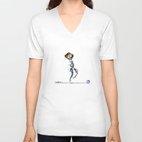 engineer V-neck T-shirts featuring Engineer Amphibianaut suit SO 1.0 by Uri Tuchman