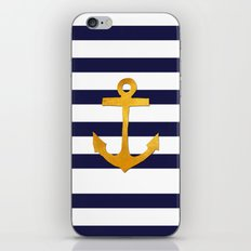 Marine pattern- blue white striped with golden anchor iPhone Skin