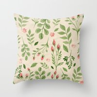 vintage flowers Throw Pillows featuring Vintage Flowers by Blue Daydreamer