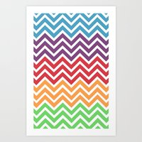 gumball Art Prints featuring Gumball Chevron by Wicked Cool Studio