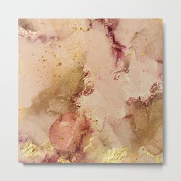 Abstract Watercolor Paint Pink Beige Gold Metal Print