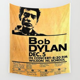Vintage 1964 Bob Dylan at Wilson High School Poster Wall Tapestry