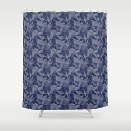 Pantone Blue Depths 19-3940 Abstract Geometrical Triangle Patterns 2 Shower Curtain