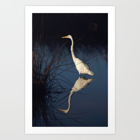 Morning Egret Reflection Art Print