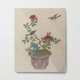 Chinese penjing bonsai - Birds Flowers Blue Rock Pot Metal Print