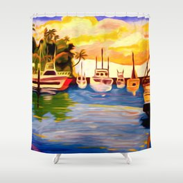 Lahaina Harbor Sunset Shower Curtain