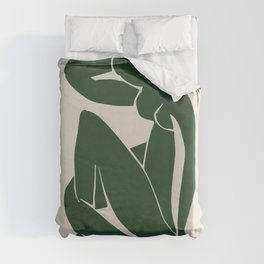 Matisse Abstract Nude II, Forest Green, Mid Century Art Decor Duvet Cover