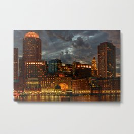 Night at Boston Harbor Metal Print