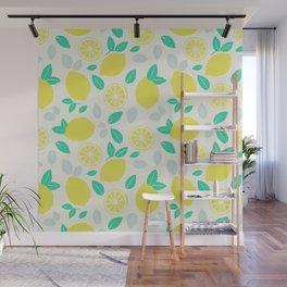 Summer Lemon Pattern Wall Mural