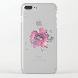 flor morada Clear iPhone Case