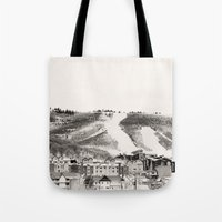 ski Tote Bags featuring Ski Town by Patti Toth McCormick