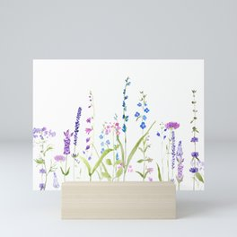 purple blue wild flowers watercolor painting Mini Art Print