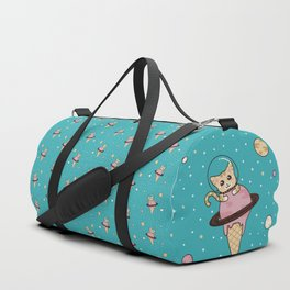 Space Cat on Ice Cream Planet Duffle Bag