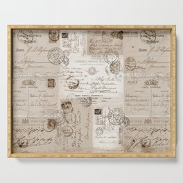 Old Letters Vintage Collage Serving Tray